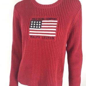 VTG Polo Jeans Ralph Lauren USA Flag Sweater